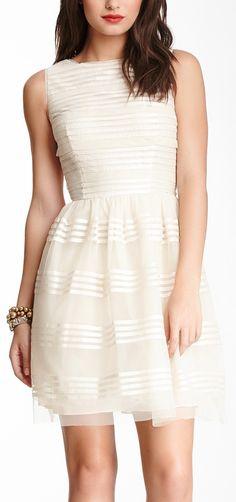 Sheer stripes dress // Nice for the rehearsal or bridal shower. (JuliannaRae.com)