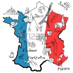 weisswein frau: Stilisierte Karte von Frankreich. Dinge, die verschiedenen Regionen in Frankreich berühmt sind.