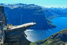 Trolltunga, Norway - Norwegians do love their trolls. Trolltunga translates as Troll's tongue and perfectly describes the piece of jutting rock.
