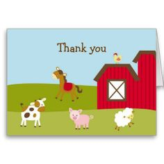 Farm Animal Barnyard Thank You Note Cards