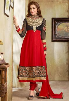 Red Color 60 Gm Georgette Fabric Anarkali Suit Comes With Red Color Santoon Fabric Bottom & Red Color Najneen Dupatta