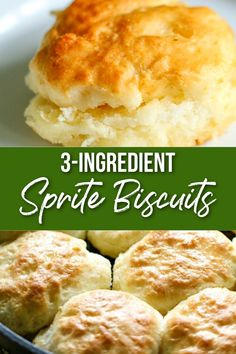 This 3-Ingredient Bisquick Biscuits Recipe made with Sprite are the easiest biscuits you'll ever make! They turn out perfect every time! Buttery Biscuits, Cookies Et Biscuits, Easy Biscuits, Biscuits With Bisquick, Seven Up Biscuits, Buttermilk Biscuits, Sour Cream Biscuits, Low Fat Biscuits, Crack Crackers