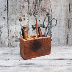 Desk caddy The Original rustic reclaimed wood Medium by PegandAwl