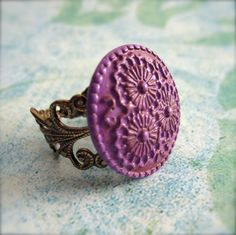 Image detail for -Boho Ring Button Ring Purple Floral Gift by PaganucciDesigns