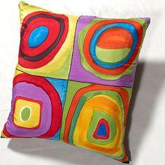 Kandinsky Inspired Quattro hand painted silk throw pillow