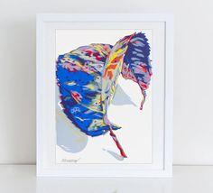Dry leaf serigraph - nature screen print - botanical art - botanical art work - autumn art - leaf wall decor - winter art - still life by komarovart on Etsy