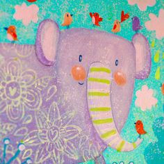 Cute childish paintings by Julia Grigorieva with forest animals and amazing tales. Elephant Illustration, Illustration Art, Art Illustrations, Kids Graphics, Little Elephant, Forest Animals, Illustrators, Art For Kids, Whimsical