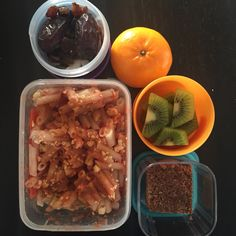 Big girls school lunch. Leftover rice & quinoa pasta from last night with homemade tomato sauces, cheese & veggie powder sprinkled on top. Choc & Coconut Cake. Fruit. Nuts (allowed at high school only) coconut, dates, sultanas, pepitas, sunflower seeds  #cutoutthecrap #lunchbox #lunch #morningtea #glutenfree (almost) #dairyfree #preservativefree #additivefree #yum #grateful #coeliac #collettewhite #school