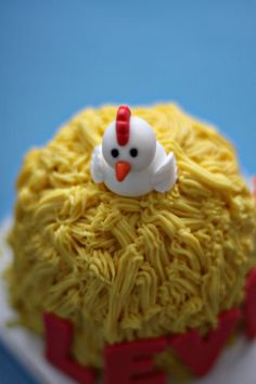 Fondant Chicken, Name and Age Decorations perfect for a Farm Animal Themed Smash or Birthday Cake. $16.00, via Etsy.