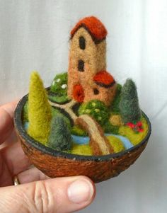Country Retreat in a nutshell - needle felted - S.Shaw Country Retreat in a nutshell - needle felted - S.Shaw Country Retreat in a nutshell - needle felted - S.Shaw Country Retreat in a nutshell - needle felted - S. Wool Needle Felting, Needle Felting Tutorials, Needle Felted Animals, Wet Felting, Felt Crafts, Diy And Crafts, Felt House, Felt Fairy, Simple Embroidery