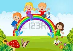 arco iris niños: Cartoon Felices los niños sentados en el arco iris en el bosque