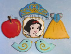 Snow White Cookies.  Hand decorated shortbread cookies.