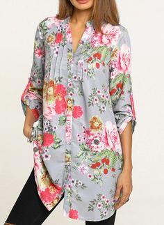 Floral Casual Chiffon V-Neckline Sleeves Blouses Floral Tops, Floral Prints, Chiffon, Comfy Casual, Kurti, Ideias Fashion, Summer Outfits, Kimono Top, Fashion Dresses