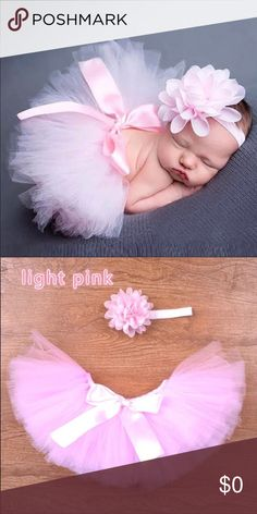 Coming SoonAdorable Pink Tutu with Headband  This beautiful handmade light pink baby tutu is very adjustable a ribbon that can be tied. This adorable pink tutu skirt is perfect for photo shoots, baby showers, birthdays or just for fun! Plus you will receive a matching headband made with a matching light pink lace flower on a light pink skinny band. Accessories