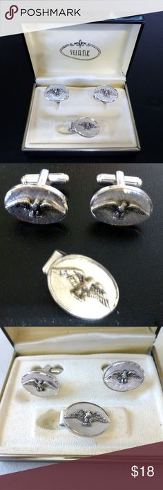 Vintage Shields eagle cuff links tie clasp set Vintage set from Shields in a Swank box Oval shape embossed with eagle in silver tone metal Shields Accessories Cuff Links