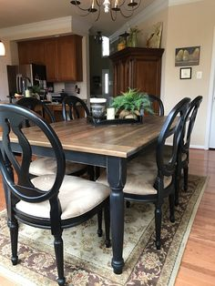 37 Fascinating Farmhouse Dining Table Design Ideas - For those who live out in the country in a ranch house farm house log cabin or any country style home for that matter and are looking for a dining t. Farmhouse Dining Room Table, Dinning Room Tables, Dining Table Design, Black Dining Room Table, Dining Rooms, Black Kitchen Tables, Room Chairs, Painted Farmhouse Table, Kitchen Table Redo