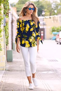 Trending Fashion | Women's Midnight Lemon Off-The-Shoulder Top by Boston Proper.