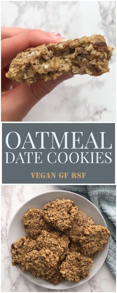 Vegan Oatmeal Date Cookies - Live Simply Healthy Date Recipes Vegan, Healthy Cookie Recipes, Healthy Cookies, Vegan Desserts, Healthy Food, Healthy Meals, Dessert Recipes, Healthy Eating, Chocolate Oat Cookies