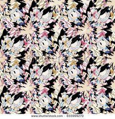Seamless abstract glitch pattern, colorful swirl pattern on a black background.