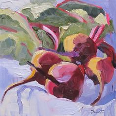 Another New Painting, 'Beets' by Linda Hunt, abstract realism, abstract, beets, alla prima, oil on canvas board, fine art, contemporary, oil