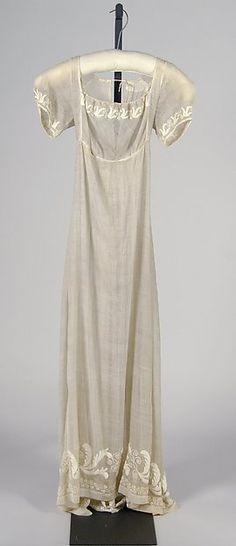 Wedding dress Date: 1812 Culture: American Medium: Cotton Accession Number: 2009.300.6286