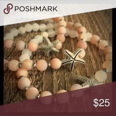 Simple Sanctuary starfish bracelets Beautiful, delicate starfish bracelets.  Made from natural white unpolished moonstone, natural white frosted agate, silver plated hematite, silver plated starfish.  Gorgeous!! Jewelry Bracelets