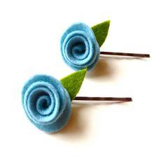 Robin's egg blue felted wool rosette bobby pin hair set