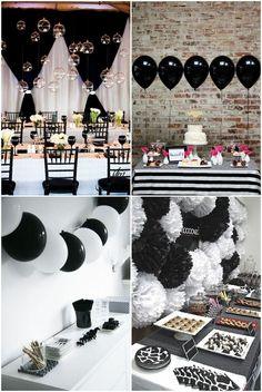 Simple Black And White Party Ideas . Simple Black And White Party Ideas Black And White Party Decorations, Black White Parties, Black And White Theme, White Hen, Black And White Balloons, Pink Black, Black And White Centerpieces, Black Tie Party, White Decor