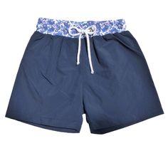 Maillot de bain garçon bleu marine et Liberty/ maillot homme assorti