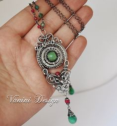 Esmeralda-Fine/Sterling Silver,Emerald and Ruby pendant Necklace by VaniniDesign, via Flickr