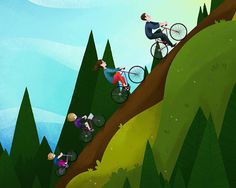 Uphill cycling! Usually means there's an awesome downhill on the way. Don't forget your helmet though!!
