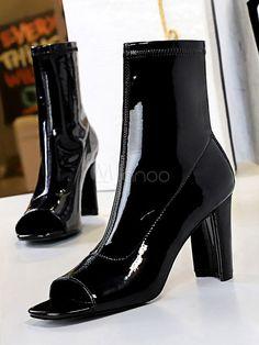 Women Black Sandal Booties Peep Toe High Heel Chuncky Heel Boots - Milanoo.com Bootie Sandals, Heel Boots, Summer Boots Outfit, Black Sandals, Peep Toe, High Heels, Booty, Shoes, Women