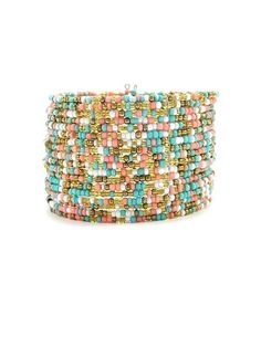 Aqua and Coral Beaded Cuff - $12.00 : FashionCupcake, Designer Clothing, Accessories, and Gifts