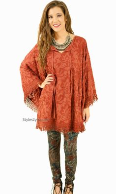 Frances Leggings In Coffee And Rust, Womens Clothes, Vintage Clothing, Boho Chic Clothing from Styles2you.com