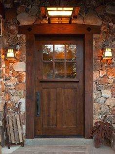 Sundance Style Knotty Alder Door Lite Craftsman EXTERIOR WOOD ENTRY DOOR lite knotty alder entry door -Bronze sill and hinges -Double bore for knob and deadbolt -Exterior Brick Mold true divided Insulated clear glass (obscure glass availab Craftsman Exterior Door, Craftsman Front Doors, Rustic Exterior, Exterior Doors, Exterior Design, Craftsman Interior, Craftsman Homes, Modern Exterior, Wood Entry Doors