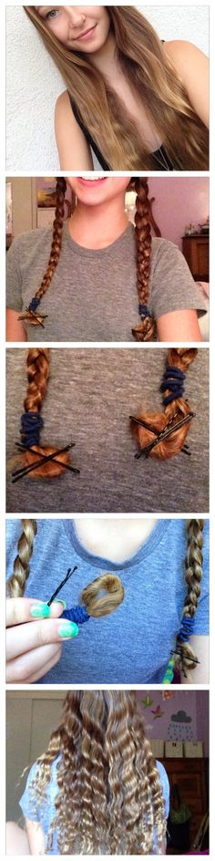 Heatless waves for girls with strait hair! Wash your hair and let dry 80% then split your hair in two groups and braid both. Take your ends and wrap them around your finger take the loop off and secure with bobby pins. Leave in overnight take everything out and vola!