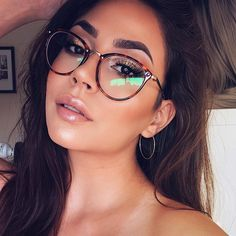 Eyeglasses - New Round Vintage Metal Optical Frame Reading Eyeglasses - Fashion eye glasses - Korean Glasses, New Glasses, Girls With Glasses, Makeup For Glasses, Glasses For Round Faces, Vision Glasses, Women In Glasses, Girl Glasses, Brown Glasses