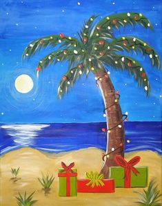 Super Ideas for diy christmas paintings canvases tree canvas – Animation ideas Christmas Palm Tree, Tropical Christmas, Christmas Rock, Christmas Florida, Christmas Lanterns, Xmas, Christmas Paintings On Canvas, Christmas Tree Painting, Christmas Canvas