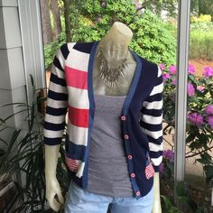 Boden Red White and Blue Cardi Boden brand red white and blue cardigan for summer! No issues, like new. Super soft! UK 8 fits like US 4. Cotton, viscose, nylon, cashmere, angora blend! Boden Sweaters Cardigans
