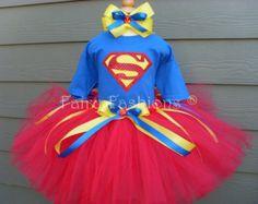 Custom Tutus...SUPERGIRL TUTU SET...birthday, halloween, trick or treat, size, 2T,3T,4T,5T,6 years,costume, vampire