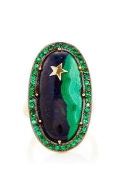 One of a kind malachite & lapis ring with emeralds with yellow gold star by ANDREA FOHRMAN Preorder Now on Moda Operandi