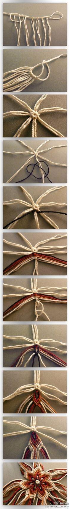 教你编一朵美丽的绳编花朵,手工达人厉害!…_来自念你七分好的图片分享-堆糖网 Click link to see interesting macramé flower