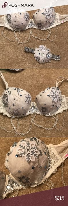 Winter snowflake rave bra White winter snowflake sparkle rave bra. Worn once. Handmade. Excellent condition. Size 34/b. Headpiece included. Intimates & Sleepwear Bras