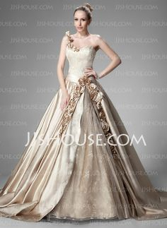 Wedding Dresses - $265.99 - Ball-Gown Sweetheart Cathedral Train Satin  Lace Wedding Dresses With Ruffle  Beadwork (002004515) http://jjshouse.com/Ball-gown-Sweetheart-Cathedral-Train-Satin--Lace-Wedding-Dresses-With-Ruffle--Beadwork-002004515-g4515