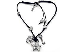 Otazu White Swarovsky Crystal Star Leather Necklace with Toggle Clasp in Base Otazu. $223.98