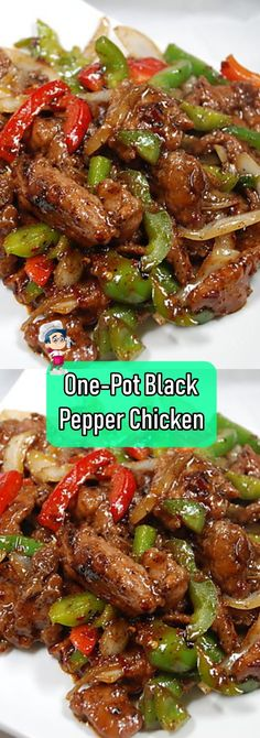 This Southeast Asian One-Pot Black Pepper Chicken dish is a spicy and savory del. - food chicken - This Southeast Asian One-Pot Black Pepper Chicken dish is a spicy and savory delight, with flavors - Stuffed Bell Peppers Chicken, Stuffed Peppers With Rice, Recipes With Chicken And Peppers, Stuffed Pepper Soup, Bell Pepper Chicken Recipes, Healthy Stuffed Bell Peppers, Black Pepper Chicken, Pasta Sauce, Soy Sauce