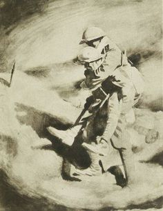 Poilu and Tommy. Drawing by SIR WILLIAM ORPEN, K.B.E., R.A.1921