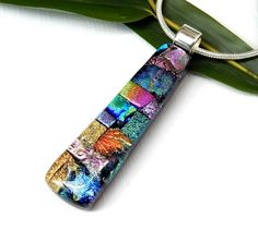 Random Mixed Dichroic Glass Necklace - Fused Glass Pendant - Multicolor Art Glass Jewelry - Birthday Gift - Best Friend Gift by TremoughGlass on Etsy