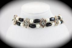 White Swarovski Pearl and Black Bracelet | jazzitupwithdesignsbynancy - Jewelry on ArtFire