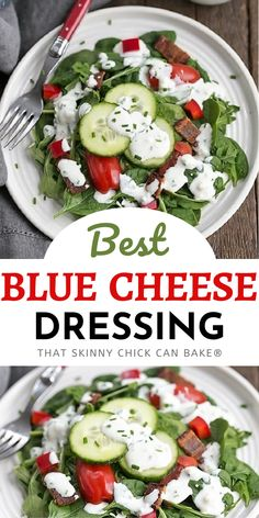 The Best Blue Cheese Salad Dressing - creamy, salty with the perfect piquancy from the addition of blue cheese. This delicious blue cheese dressing makes an amazing dipping sauce, too!